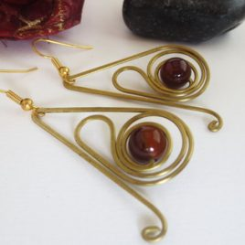 Boucles pierres fines Agate brune
