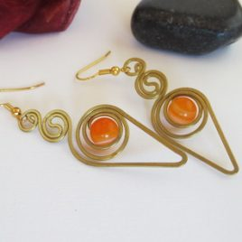 Boucles pierres fines Agate orange