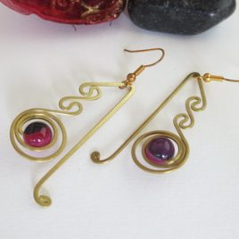 Boucles pierres fines Agate rose 2