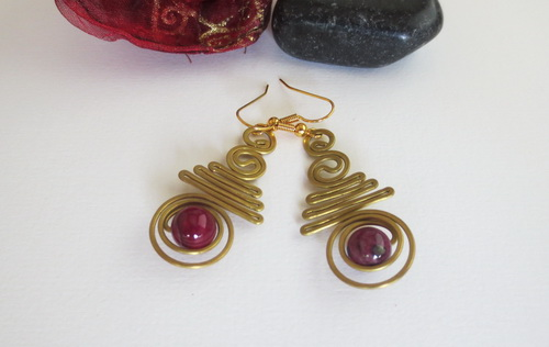 Boucles pierres fines Agate rose