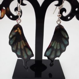 boucles d'oreilles papillons bleu gris