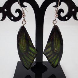 boucles d'oreilles papillons vert forêt