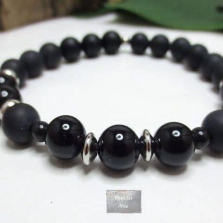 Bracelet obsidienne H