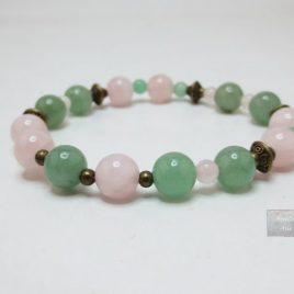 Bracelet femme aventurine et quartz rose