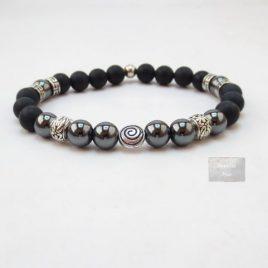 Bracelet homme hématite Agate noire
