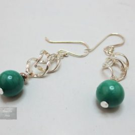 Boucles pierres fines Argent Malachite