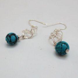 Boucles pierres fines Argent Turquoise