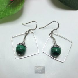 Boucles fines Malachite Square