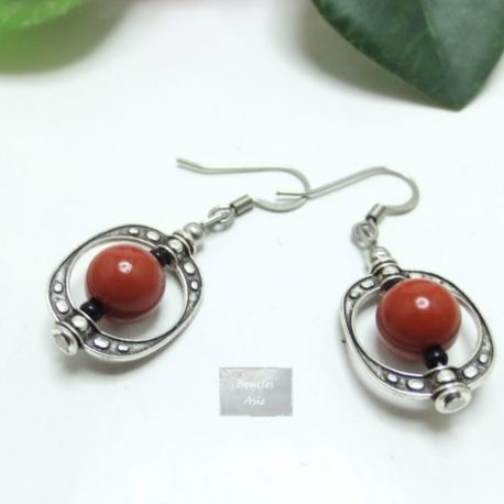 Boucles Jaspe rouge Cage