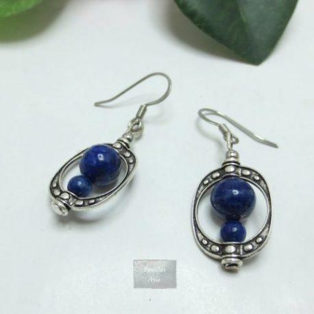 Boucles Lapis Lazuli Cage