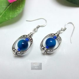 Boucles Agate bleue Cage