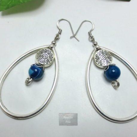Boucles Agate bleue Créoles