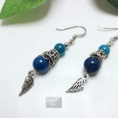 Boucles Agate bleue Fili