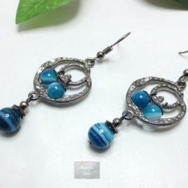 Boucles Agate bleue Lomi