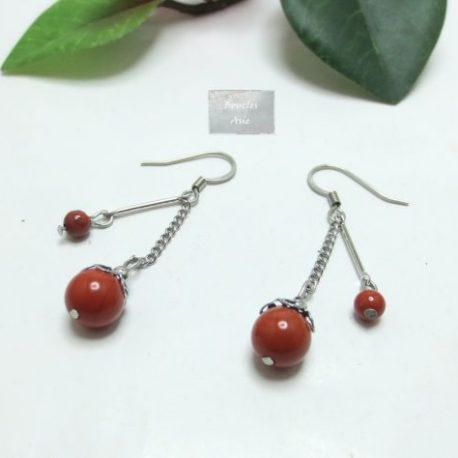 Boucles Jaspe rouge Rainy