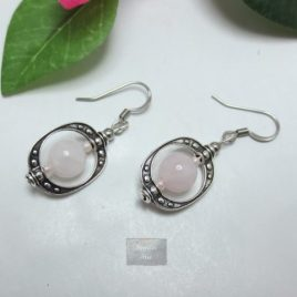 Boucles Quartz Rose Cage