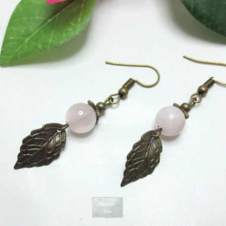 Boucles Quartz Rose fili