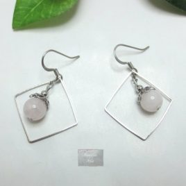 Boucles pierre naturelle Quartz Rose S