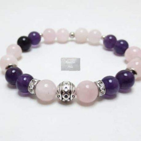 Bracelet Améthyste et quartz rose