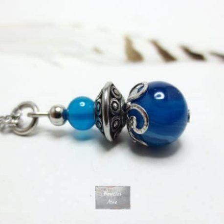 Collier Agate bleue Acier