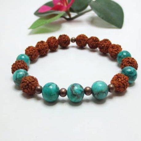Bracelet graines Rudraksha et Jaspe
