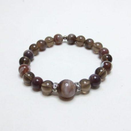 Bracelet Agate Botswana et quartz fumé