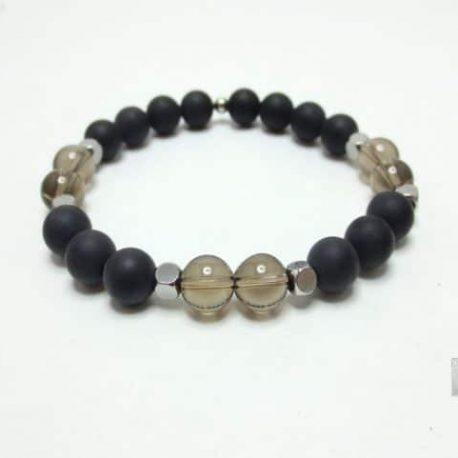 Bracelet Agate quartz fumé