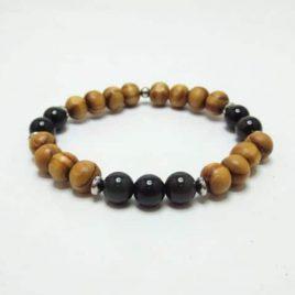 Bracelet en bois et Obsidienne
