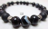 Bracelet agate noire à bandes