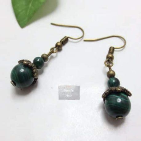 Boucles fines Malachite Vintage