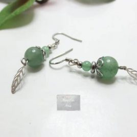 Boucles pierres naturelles Leaf