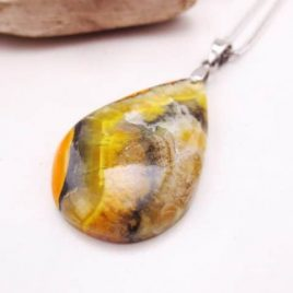 Pendentif cabochon Jaspe Bumble Bee