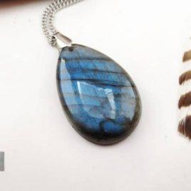 Pendentif cabochon labradorite blue