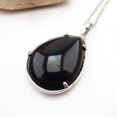 Pendentif cabochon Obsidienne
