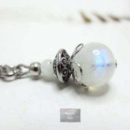 Collier pierre naturelle Labradorite blanche