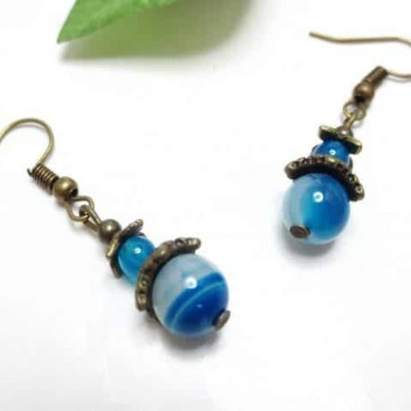 Boucles Agate bleue Old