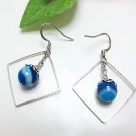 Boucles pierres Agate Square