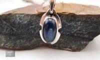 Pendentif cabochon Cyanite Argent