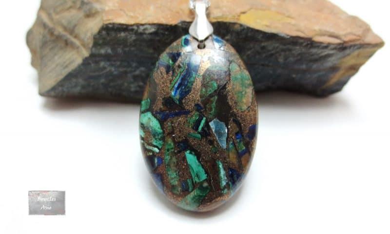Pendentif cabochon Azurite Malachite