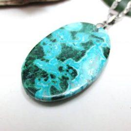 Pendentif Pierres Turquoise Malachite